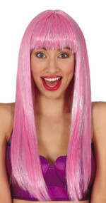 Ladies Long Pink Straight Sparkle Fancy Dress Wig