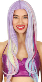 Ladies Long Wavy Rainbow Fancy Dress Wig