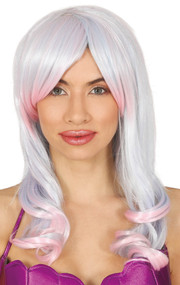 Ladies Silver Ombre Fancy Dress Wig