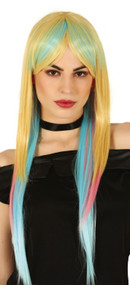 Ladies Extra Long Straight Rainbow Wig