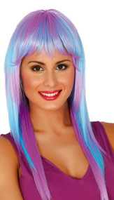 Ladies Blue & Lilac Straight Wig