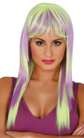 Ladies Green & Lilac Straight Wig