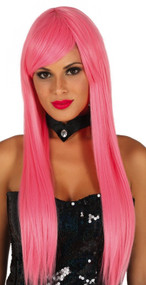 Ladies Extra Long Straight Pink Wig