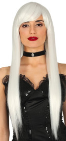 Ladies Extra Long Straight White Wig