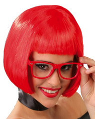 Ladies Bright Red Bob Fringe Wig
