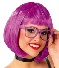 Ladies Bright Purple Bob Fringe Wig