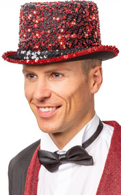Adult Red Sequinned Top Hat