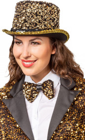 Adult Gold Sequinned Top Hat
