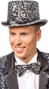Adult Silver Sequinned Top Hat