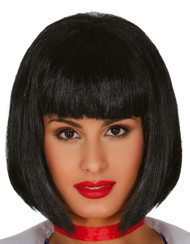 Ladies Black Blunt Fringe Bob Wig