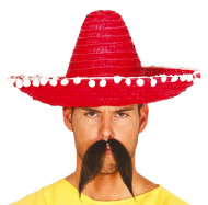 Adults 45cm Red Mexican Sombrero Hat