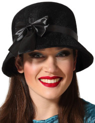 Ladies Black Vintage 1920s Hat