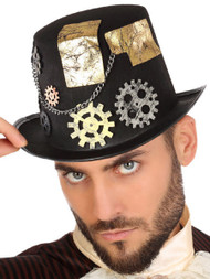 Mens Steampunk Top Hat With Cogs