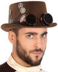 Adults Brown Steampunk Hat With Googles