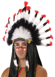 Adults Black White Feathered Indian Headdress