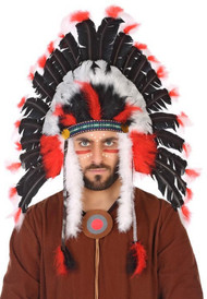 Adults Deluxe Black White Feathered Native Indian Headdress
