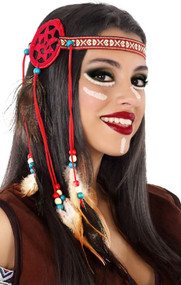 Ladies Red Feather Indian Headband