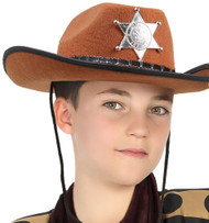 Childs Brown Cowboy Sheriff Fancy Dress Hat
