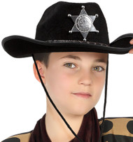 Childs Black Cowboy Sheriff Fancy Dress Hat