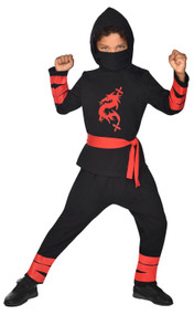 Childs Black Dragon Ninja Fancy Dress Costume
