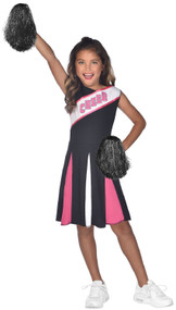 Girls Pink & Black Cheerleader Fancy Dress Costume