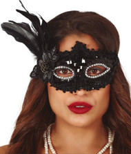 Ladies Black Feather Sequin Eye Mask