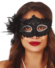 Ladies Black Floral Sparkle Eye Mask