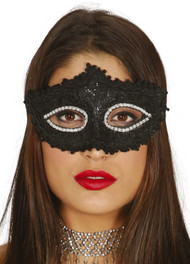 Ladies Black Sparkle Eye Mask