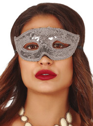 Adults Silver Sequin Eye Mask