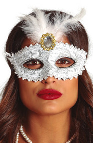 Ladies White Feather Eye Mask