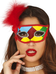 Ladies Colorful Harlequin Feather Eye Mask