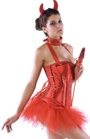 Ladies Glitter Corset Devil Fancy Dress Costume