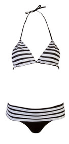 Ladies Black & White Ruffled Bikini