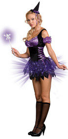 Ladies Light Up Witch Fancy Dress Costume