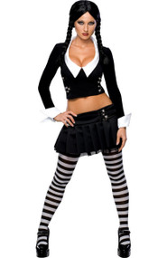 Ladies Wednesday Addams Fancy Dress Costume