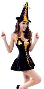 Ladies Candy Witch Fancy Dress Costume
