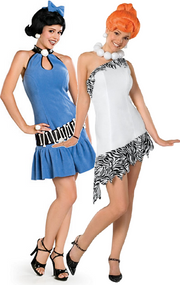 Couples Wilma & Betty Flintstones  Fancy Dress Costumes