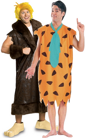 Couples Fred & Barney Flintstones Fancy Dress Costumes
