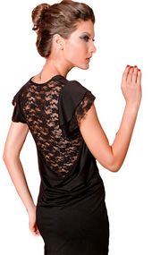 Ladies Black Lace Back Mini Dress
