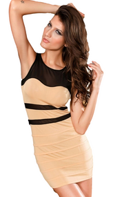 Ladies Nude Bodycon Mini Dress