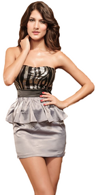Ladies Silver Sequin Peplum Mini Dress