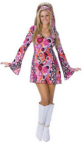 Ladies Feelin' Groovy Hippy Fancy Dress Costume