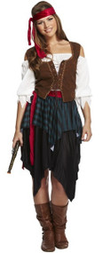 Ladies Carribean Pirate Fancy Dress Costume