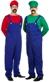 Couples Mens Mario & Luigi Fancy Dress Costume