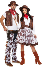 Couples Cowboy & Cowgirl Fancy Dress Costumes