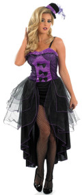 Ladies Purple Burlesque Fancy Dress Costume