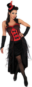 Ladies Red Burlesque Fancy Dress Costume
