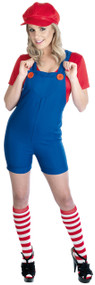 Ladies Red Plumber Dungarees Fancy Dress Costume
