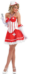 Ladies Corset Tutu Nurse Fancy Dress Costume
