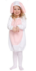 Girls White Easter Bunny Fancy Dress Costume
